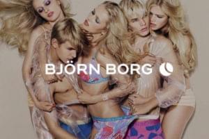 Designer underwear models with Björn Borg white text overlay logo