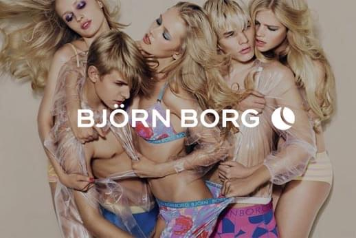 Designer underwear models with Björn Borg white text overlay logo