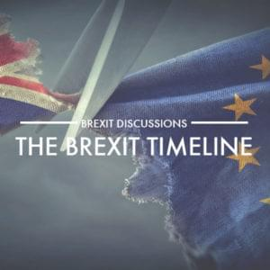 British and EU flag being ripped apart with text overlay for the Brexit timeline