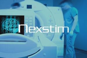 Brain stiumulation nexstim company showing brain scanner with logo overlayed