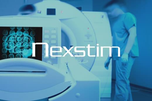 Brain stiumulation nexstim company showing brain scanner with logo overlayed