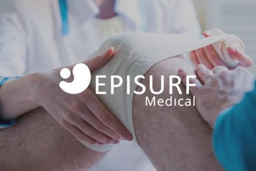 Episurf white logo overlayed on an image of a leg being bandaged up