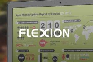 Flexion logo overlayed on report on screen