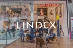 Lindex logo overlayed high street shop