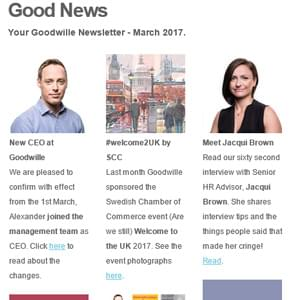 Newsletter logo for March - CEO at Goodwille, HR advisor and the Swedish Chamber of Commerce