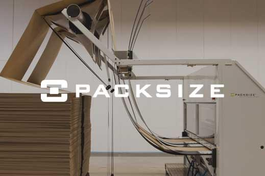 Packsize logo overlayed across industrial machinery