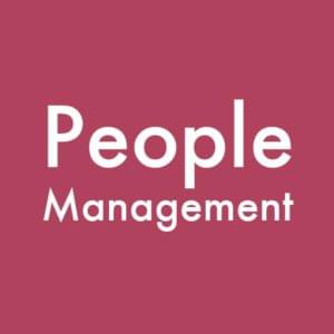 Maroon people management emblem with text