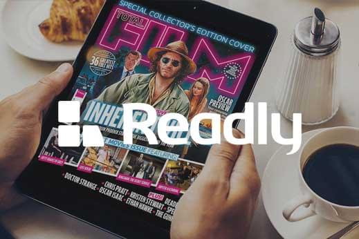 Readly magazine app subscription website displayed on an iPad with Readly logo overlayed on top