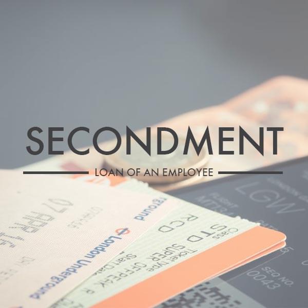 Secondment image overlayed on travel tickets