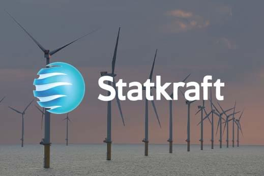 Statkraft sea wind turbines with logo overlayed