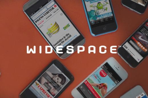 Widespace technology logo overlayed a number of iPhones displaying their clients