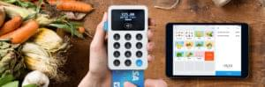 iZettle card machine showing transaction for fruit and vegetables