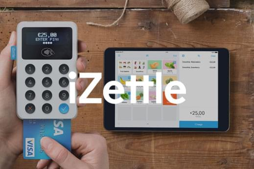 iZettle card machine showing transaction amount and tablet outlining basket contents with white logo overlayed