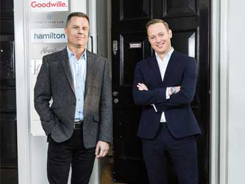 Alexander Goodwille and Kevin Rutter outside the front of the London Goodwille offices