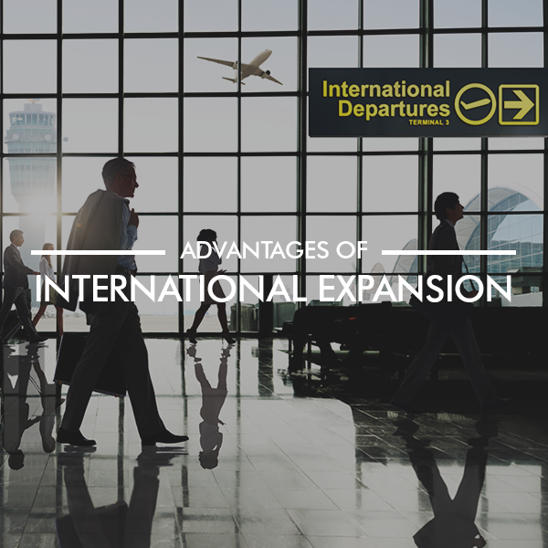 International expansion image of people walking through airport lounge and planes taking off in the background