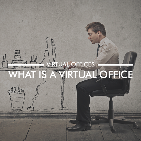 Picture of male with 'virtual' drawn desk to illustrate what a virtual office is