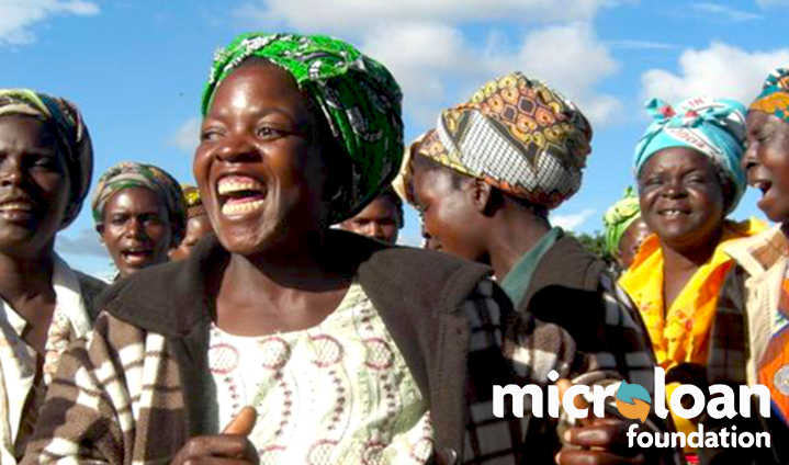 Microloan foundation with pictures of people laughing