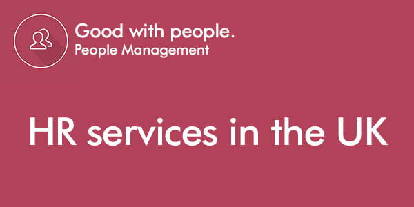 HR services in the UK text over people management red background