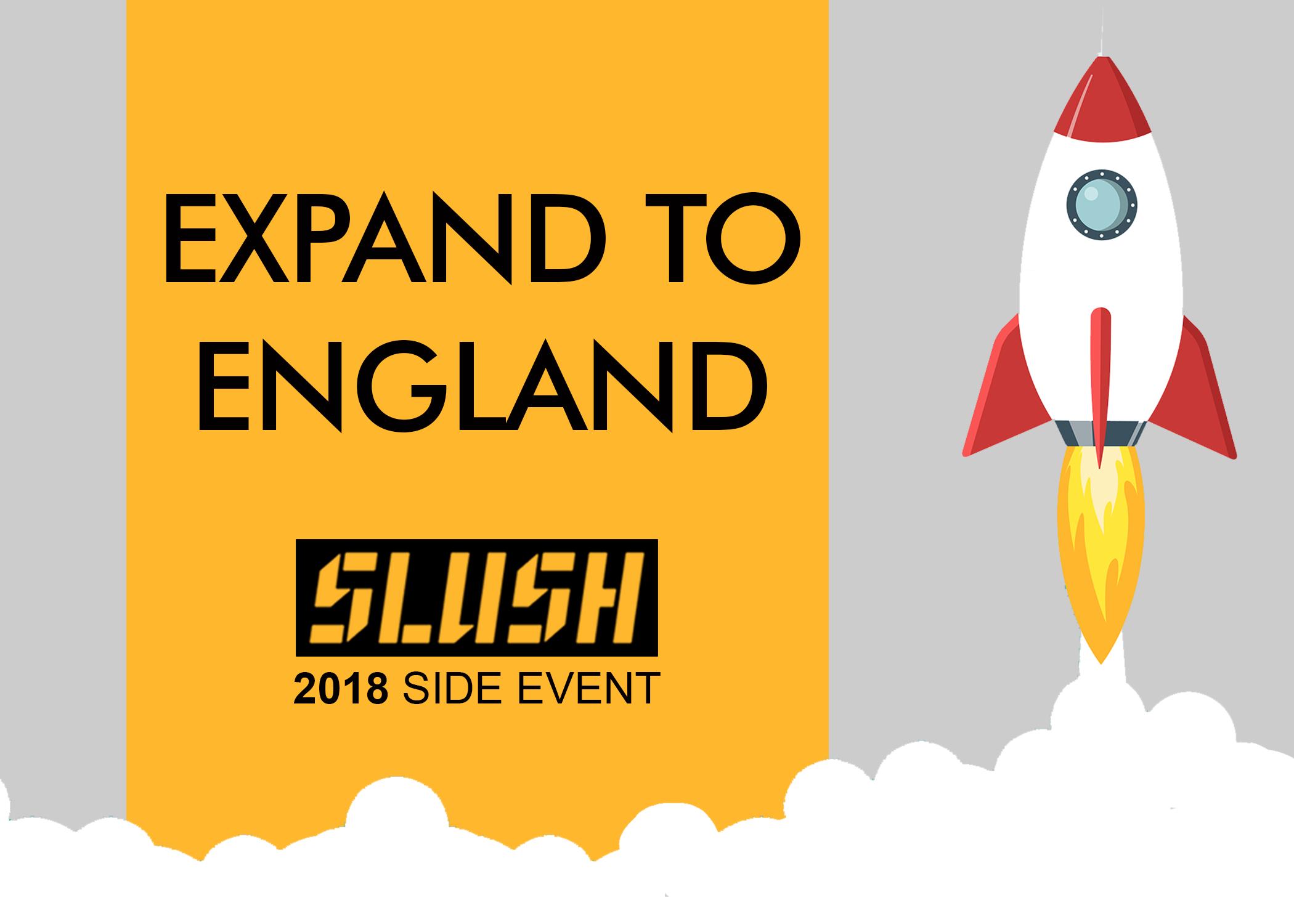 Expand to England - Slush 2018 Goodwille side event logo with rocket