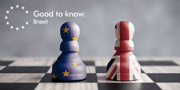 Brexit EU and British chess pieces on chess board