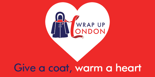 Wrap up London give a coat, warm a heart red logo