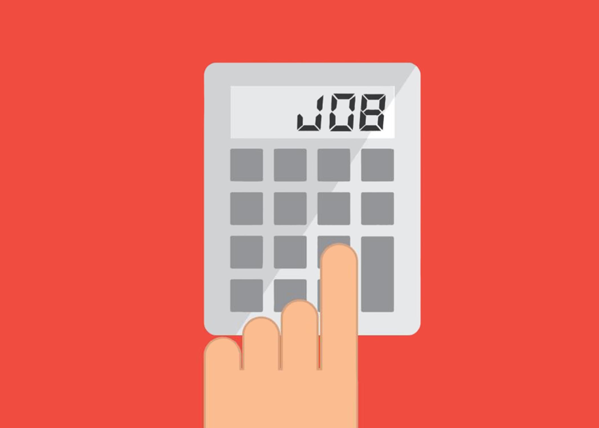 calculator displaying the word job