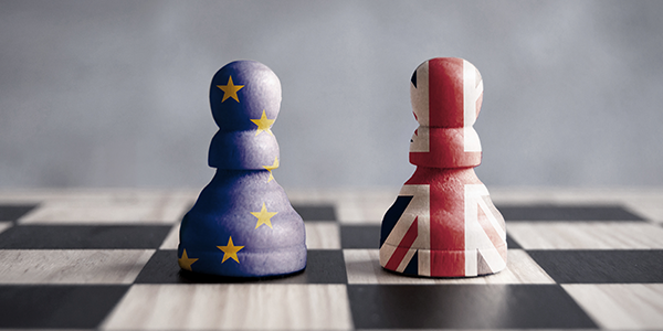 Brexit chessboard with UK and EU markers